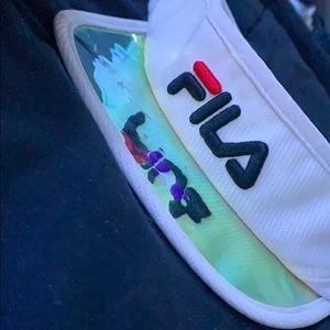 FILA iridescent brim white visor